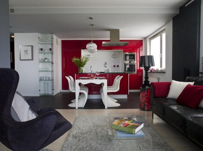 Kuchnia z salonem: nowoczesne meble i kolory ścian
