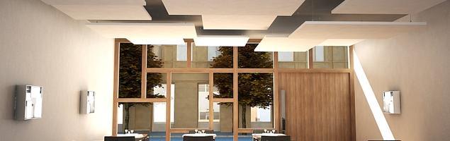 Wyspowe sufity podwieszane jako praktyczny wystrój restauracji