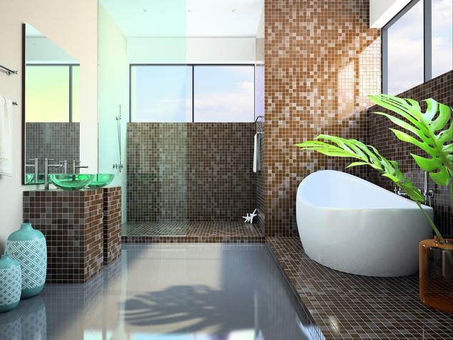 Łazienka z wanną i prysznicem - nowoczesne wnętrze